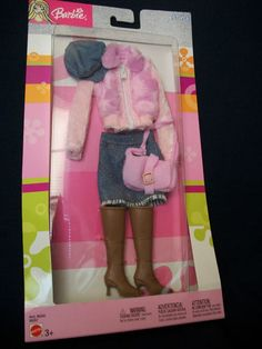 Barbie Style Fashions 2003 Outfit B8265 Faux Fur Jacket Jean Skirt Boots | eBay