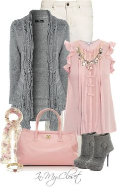 I love the soft pink touches mixed with the heather grey. And those heels! To die!