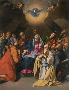 """""""The love of God has been poured out into our hearts through the holy Spirit that has been given to us."""" Romans 5:5 // Pentecostés / The Pentecost // 1615-1620 // Fray Juan Bautista Maíno // #HolySpirit #Apostolic #Church #VirginMary #Apostles"""