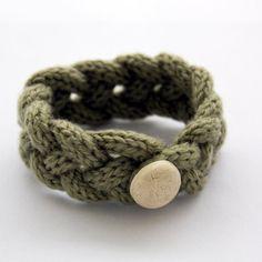 French knitted wool bracelet (light green). €8.80, via Etsy.