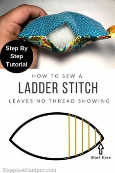 Ladder Stitch Tutorial. No More thread showing on your seams! Show you step by step with Pictures on how to sew a ladder stitch. Ladder stitch, is also called a blind stitch, invisible stitch or hidden stitch. This is the perfect sewing stitch to finish off projects like pillows or ones where you don't want any thread showing. #sewingtutorial #stitching #sewing