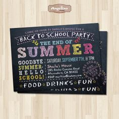 Back to School Party Invitation. End of Summer by AngelinaWorks, $12.90