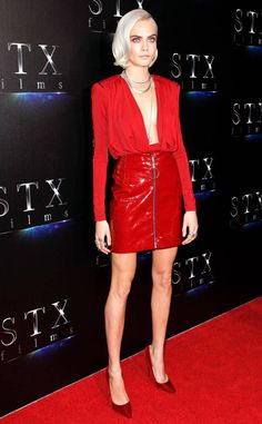 Save, Spend, Splurge: Cara Delevingne's Red Hot Look - Red Carpet Casual Fashion Trend Patent Red Leather Zip Up Mini Skirt