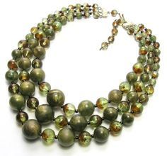 1950s Olive Green 3 Strand Lucite Necklace - Vintage Necklaces by SwankyJewels on Etsy