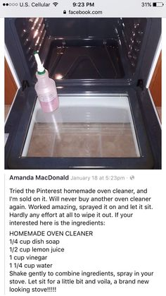 Oven cleaner Worth trying. My oven is gross. - Oven cleaner Worth trying. My oven is gross. Oven cleaner Worth trying. My oven is gross. Diy Home Cleaning, Household Cleaning Tips, Cleaning Recipes, House Cleaning Tips, Spring Cleaning, Oven Cleaning Hacks, Cleaning Supplies, Kitchen Cleaning, Household Cleaners