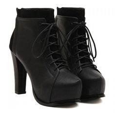 Shoespie Lace up Chunky Heel Ankle Boots (210 ILS) ❤ liked on