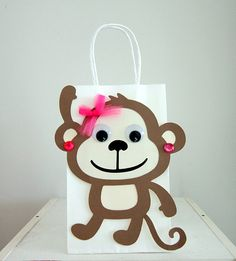 Pretty Monkey Party Favor Goody Gift Bags  Monkey by CraftyCue