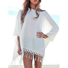 $10.55 Chic 3/4 Sleeve Pure Color Fringed Women's Cover Up