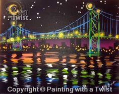 Moonlit Ambassador Bridge   11/6/2015 - Painting with a Twist, Farmington, MI