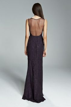 CHANTAL. Lace bridesmaids gown with tulle illusion neckline and back shown in Raisin. Available in 7 colors.