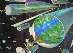"The Three Island Space Colony by Roy Coombes, from Harry Harrison's book""Mechanismo"" 1978"
