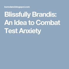 Blissfully Brandis: An Idea to Combat Test Anxiety