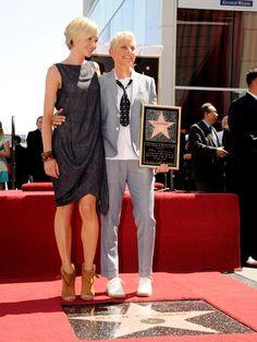 Ellen DeGeneres gets a star with Portia de Rossi