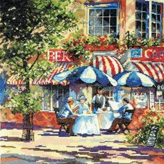 I like that here we can see visitors in this cafe. Other kits wich are similar to this one don't contain people...