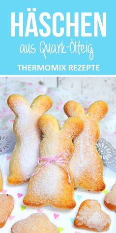 Bunny made from quark oil dough. Easter sweets from the Thermomix. - These bunnies are an absolute eye-catcher and a snap. Perfect for spontaneous visits or if you just - Baking Recipes, Cake Recipes, Dessert Recipes, Baking With Kids, Easter Recipes, Tasty Dishes, Food Blogs, Sweet Recipes, Crockpot Recipes