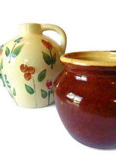 Vintage Pottery Brown Crock Whiskey Jug Ceramic Planter
