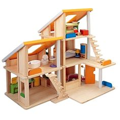 PLAN TOY CHALET DOLL HOUSE WITH FURNITURE    $162.95