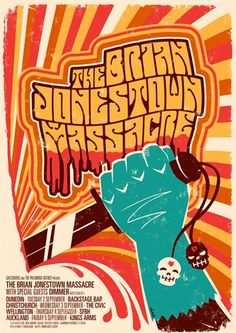 """The Brian Jonestown Massacre Gigposter"" by Hadley Donaldso Tour Posters, Band Posters, Psychedelic Rock, Psychedelic Posters, Concert Posters, Gig Poster, Jonestown Massacre, New Flyer, Music Covers"