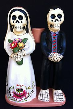 skeleton wedding couple - novios - candle holder