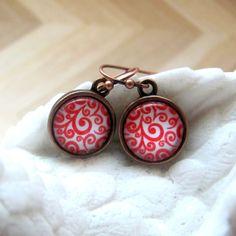 Red earrings Copper earrings Picture earrings Glass cabochon earrings Boho…