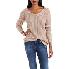 Charlotte Russe Warm Taupe Chunky Knit Pullover Sweater by Charlotte... ($25) ❤ liked on Polyvore featuring tops, sweaters, warm taupe, slouchy sweater, slouchy pullover sweater, ribbed sweater, long sleeve pullover sweater and scoop neck sweater