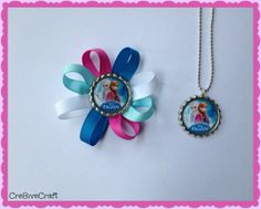 Frozen hair clip and matching necklace by Cre8iveCraft on Etsy, $5.00