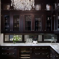 butler's pantry crystal chandelier glass-front espresso stained kitchen cabinets… – Gray Espresso Kitchen Cabinets Dark Wood Kitchens, Black Kitchens, Home Kitchens, Layout Design, Küchen Design, House Design, Design Ideas, Interior Design, Stained Kitchen Cabinets