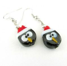 Oh, my gosh!  How CUTE!!  ~ Penguin Earrings, Cute Penguin Bead Earrings, Penguin Lampwork Earrings, Holiday Earrings, Girl's Earrings by earthlietreasures for $4.95