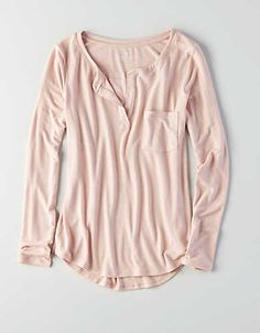 AEO Henley Long Sleeve T-Shirt, Light Pink | American Eagle Outfitters