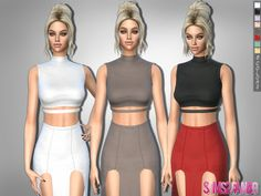 .:303 - Top Without Sleeves:. Found in TSR Category 'Sims 4 Female Everyday'