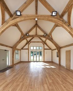 Border Oak - Oving Village Hall - the oak cruck frame makes this an amazing space for weddings and parties! Oak Frame House, A Frame Cabin, Porch Supports, Border Oak, Oak Framed Buildings, Timber Frame Homes, Timber Frames, Barn Renovation, Roof Trusses
