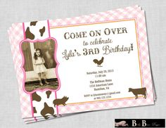 Girl Farm Birthday Party Invitation (pink, orange & brown)- Printable