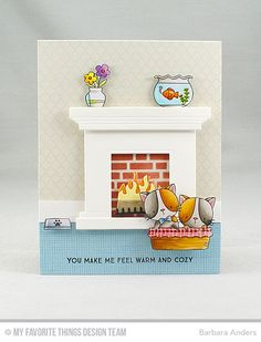 Card by Barbara Anders (011417) [My Favorite Things (dies) Die-namics BB Cool Cat, Fireplace; (stamps) BB Cool Cat, LJD Make Yourself at Home, Moroccan Lattice Background; (stencil) English Brick Wall]