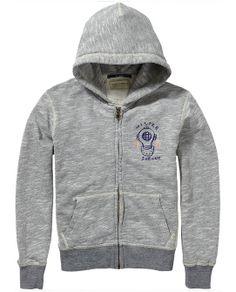 Basic zip-through sweater met capuchon | Sweat | Jongenskleding bij Scotch & Soda