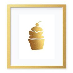 Cupcake Gold Foil Art Print by Digibuddha