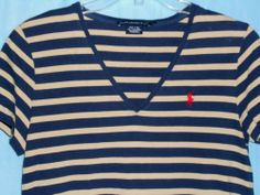 RALPH LAUREN SPORT Women Top T-Shirt Size L Blue/Tan Stripe Pony Logo Short Slv