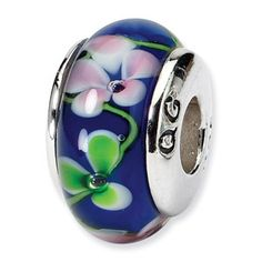 Blue Floral Murano Glass and Sterling Silver Bead Murano Glass, Hand Blown Glass, Jewelry Bracelets, Glass Beads, Reflection, Gemstone Rings, Sterling Silver, Floral, Gold