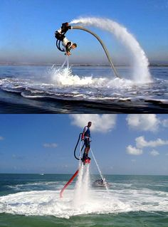 The Flyboard just might be the coolest water jet pack yet, and it turns you into a dolphin of sorts.This is so cool,