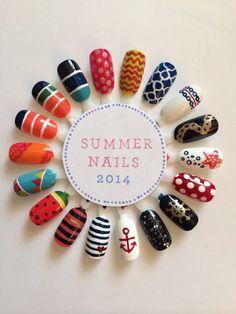 Summer nail designs 2014 by marcy Nail Designs 2014, Creative Nail Designs, Colorful Nail Designs, Cute Nail Designs, Creative Nails, Sassy Nails, Love Nails, Pretty Nails, Summer Nails 2014