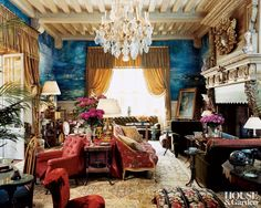 Nineteenth-century French furniture enlivens the Proustian vision in the grand salon of the Normandy château that belonged to Yves Saint Laurent and Pierre Bergé. The walls are painted with Monet-inspired water lilies by Paul Meriguet in a theme that is carried out in many rooms in varying tones.