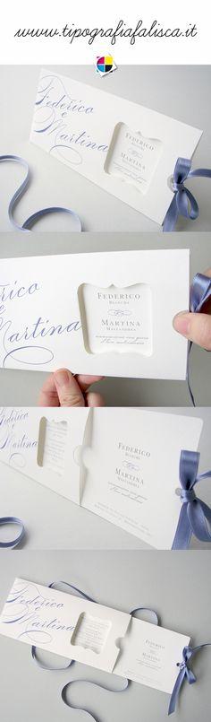 Unconventional Wedding Invitation... Partecipazione Opera con apertura clic clac.  www.tipografiafalisca.it