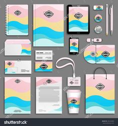 Business stationery mock-up with logo. Corporate Identity Design, Brand Identity Design, Visual Identity, Branding Design, Logo Design, Logo Branding, Brochure Design, Sky Pink, Orange Sky