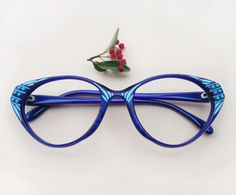 909757f339a RESERVED ! cat-eye frames hand painted   women s deadstock blue eyeglass    french embellished sunglasses   one of a kind unique Eyewear