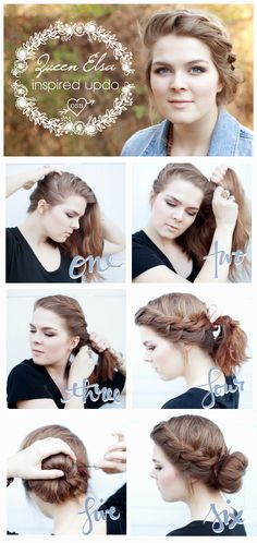 Queen Elsa Inspired Updo for short or medium length hair! Frozen hair tutorial, bohemian hair tutorial.