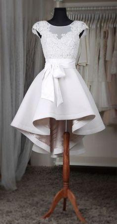 A Line Prom Dress,Illusion Neckline Cocktail Dress,Cap Sleeves Prom Dress,Knee Length Prom Dress,Lace Appliques Prom Dress