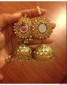 Gold jumkas with pearls and mirrors- do u have something like this? can u buy? India Jewelry, Gold Jewelry, Statement Jewelry, Gold Necklaces, Temple Jewellery, Ethnic Jewelry, Jewlery, Jhumki Earrings, Indian Earrings