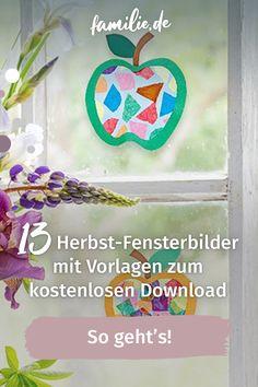 Im Herbst ist aus dem Fenster gucken am schönsten – draußen gibt es immer etwas zu entdecken. Noch mehr Spaß macht es, wenn ein paar bunte Fensterbilder an der Scheibe hängen. Die könnt ihr vorher mit der ganzen Familie basteln. Hier geht's zu den Vorlagen für unsere schönsten Herbst-Fensterbilder, die ihr euch kostenlos downloaden könnt. #herbst #herbstdeko #basteln #familienzeit #bastelvorlage #download #lebenmitkindern #spaß #familienleben Gratis Download, Symbols, Decor, Halloween Window Clings, Simple, Decoration, Decorating, Glyphs, Deco