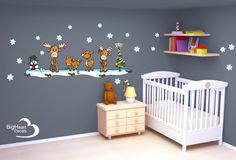 Woodland Christmas Set from Big Heart Decals Inc. Made in Canada. Fabric stickers or wall decals for nursery or kids playrooms. Sticks on walls, windows and flat surfaces. Movable, removable, no residue. Price: $150 - 12 square foot sheet