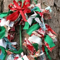Make a festive wreath with just scraps of fabric, a wire coat hanger and ribbon!