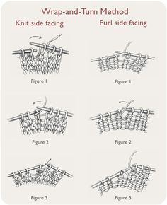 Easy-to-follow instructions for short row knitting method #1: Wrap-and-Turn Method.